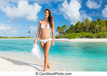 mujer se relajar, isla tropical