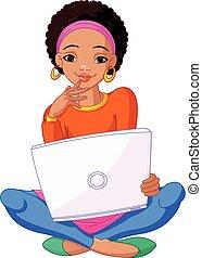 mujer se sentar, computador portatil, joven, cojín, africano