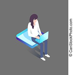 mujer se sentar, computador portatil, plataforma,...