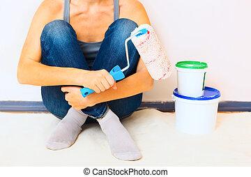 mujer se sentar, trabajo, pintura, primer plano, cepillo,...