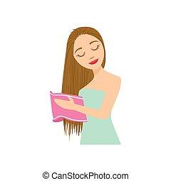 mujer, secado, pelo, con, toalla, hogar, tratamiento del...
