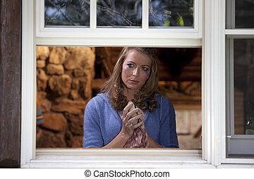 mujer, secado, ventana, llanto, plato, cocina