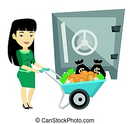 mujer, seguro., empresa / negocio, dinero, depositar, banco