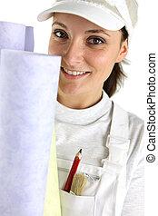 mujer, selección, tenencia, papel pintado