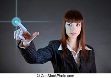 mujer, sensor, empresa / negocio, señalar, pantalla