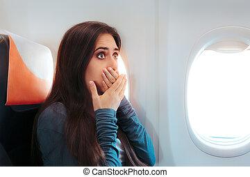 mujer, Sentado, ventana, enfermo, avión, sentimiento