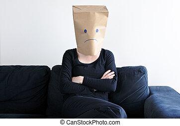 mujer, sentarse, triste, anónimo, solamente, sofá