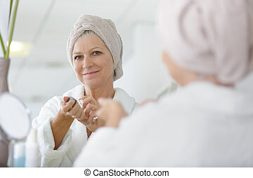 mujer, ser aplicable, aliño, perfume, espejo, tabla, 3º edad