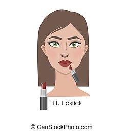 mujer, ser aplicable, lipstick.
