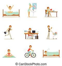 mujer, serie, moderno, carácter, diario, mañana, tarde, rutina, ilustraciones, caricatura, feliz