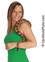 mujer, serpiente, tenencia