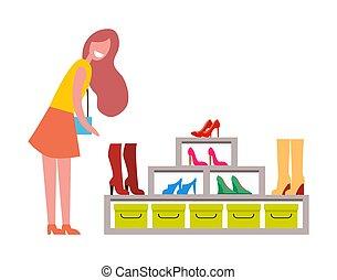 mujer, shoes, grande, boutique, moderno, estante