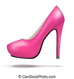 mujer, shoes, púrpura, moderno, brillante, alto, bomba, ...