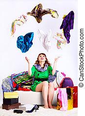mujer, shopaholic