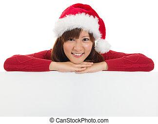 mujer, signo., navidad, santa, blanco, cartelera, actuación