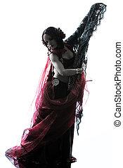 mujer, silueta, bailando, bailarín, vientre, árabe