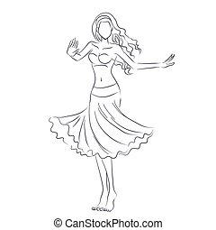 mujer, silueta, baile, actuación, joven, vientre, línea