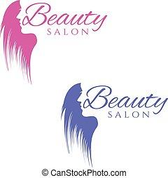 mujer, silueta, belleza, ilustración, vector, diseño, plantilla, hair., conceptual, logotipo, salon.