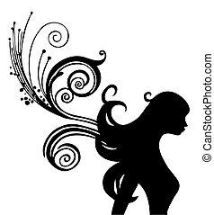 mujer, silueta