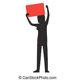 mujer, silueta, con, rojo, flámula, ilustración