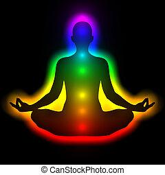 mujer, silueta, cuerpo, energía, chakras, meditación, aura