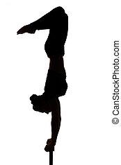 mujer, silueta, gimnástico, practicar, contorsionista, yoga, caucásico