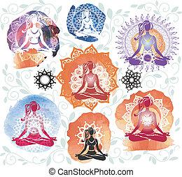 mujer, silueta, golpeteo, loto, meditar, posición, redondo