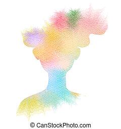 mujer, silueta, illustration., color, doble, resumen, ...