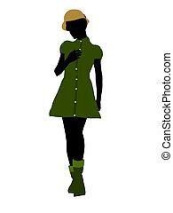 mujer, silueta, ilustración, norteamericano, africano,...