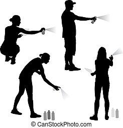 mujer, silueta, ilustración, fondo., rociar, vector, tenencia, conjunto, blanco, hombre