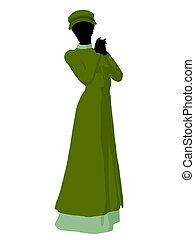 mujer, silueta, norteamericano, ilustración, victoriano,...