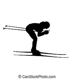 mujer, silueta, o, silhouette., vector, esquí, campo través, niña, cuesta abajo