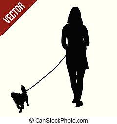 mujer, silueta, perro