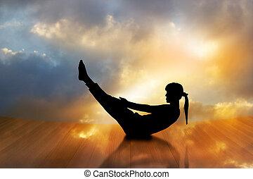 mujer, silueta, piso, de madera, doble, cielo, ejercitar, plano de fondo, vibrante, yoga, exposición