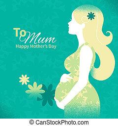mujer, silueta, plano de fondo, embarazada