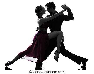 mujer, silueta, salón de baile, pareja, bailarines, tangoing, hombre