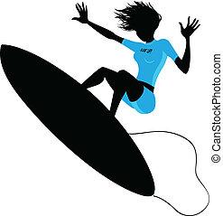 mujer, silueta, surf