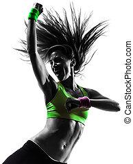 mujer, silueta, zumba, bailando, ejercitar, condición física