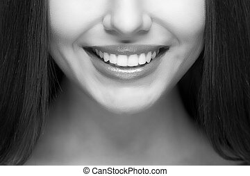 mujer, smile., dientes, whitening., dental, care.