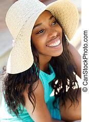 mujer, sol, joven, alegre, reír, sombrero