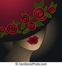 mujer, sombrero
