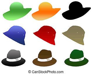 mujer, sombrero, hombre