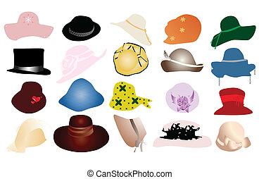 mujer, sombreros