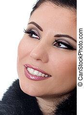 mujer sonriente, con, maquillaje