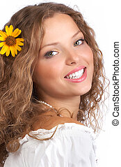 mujer, sonrisa
