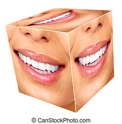 mujer, sonrisa, cubo, collage.