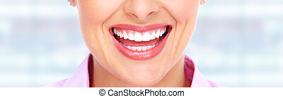 mujer, sonrisa, y, dientes