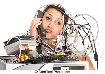 mujer, soporte de computadora