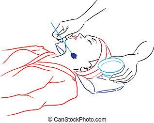 mujer, spa-procedures, teniendo, salón, -, serie, balneario