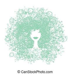 mujer, su, peinado, diseño floral, silueta